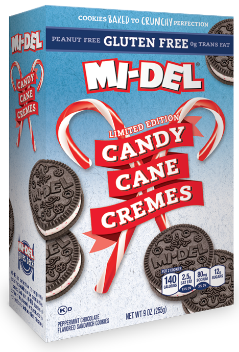 Gluten Free Candy Cane Cremes - MI-Del Cookies